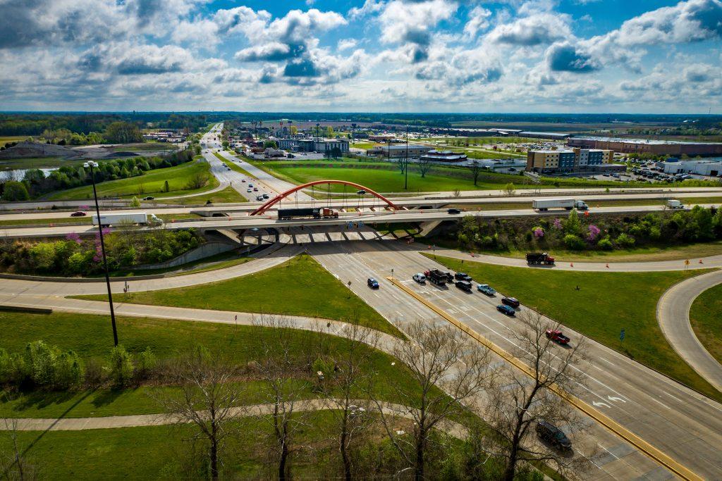 drone shot of Columbus, IN bridge